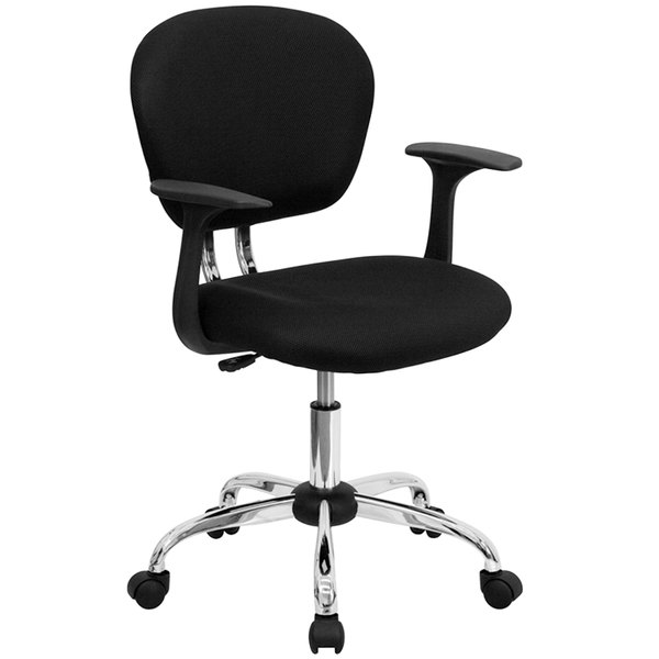 Flash Furniture H-2376-F-BK-ARMS-GG Mid-Back Black Mesh Office Chair / Task Chair with Arms and Chrome Base Main Image 1