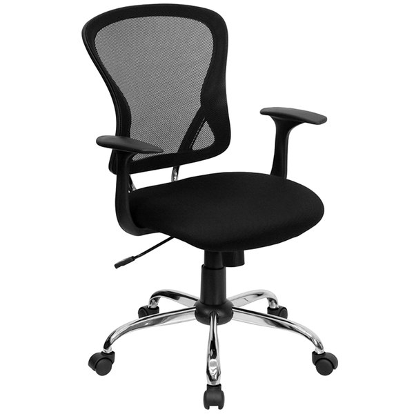Flash Furniture H-8369F-BLK-GG Mid-Back Black Mesh Office Chair with Arms, Padded Seat, and Chrome Base