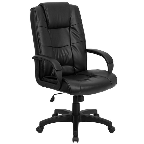 Flash Furniture GO-5301B-BK-LEA-GG High-Back Black Leather Executive Office Chair with Nylon Base, Padded Back, and Padded Arms Main Image 1