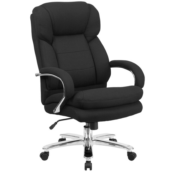 Flash Furniture GO-2078-GG High-Back Black Fabric Intensive-Use Multi-Shift Swivel Office Chair with Headrest and Loop Arms Main Image 1