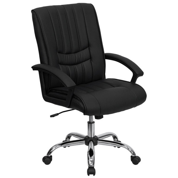 Flash Furniture BT-9076-BK-GG Mid-Back Black Leather Manager's Office Chair with Chrome Finished Base