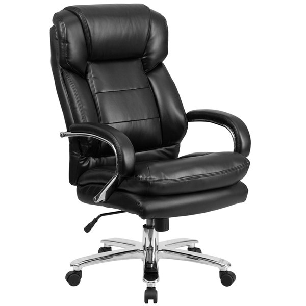 Flash Furniture GO-2078-LEA-GG High-Back Black Leather Intensive-Use Multi-Shift Swivel Office Chair with Headrest and Loop Arms Main Image 1