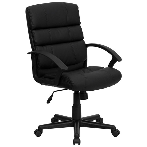 Flash Furniture GO-1004-BK-LEA-GG Mid-Back Black Leather Office Chair with Arms and Spring Tilt Control Main Image 1