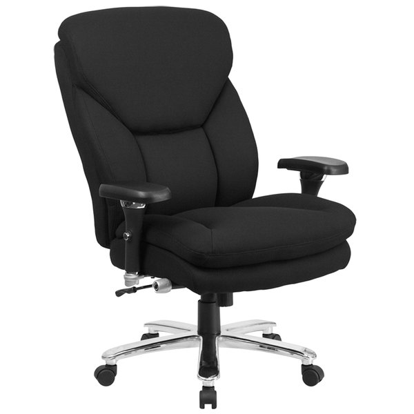 Flash Furniture GO-2085-GG High-Back Black Fabric Intensive-Use Multi-Shift Swivel Office Chair with Lumbar Support Knob and Padded Arms