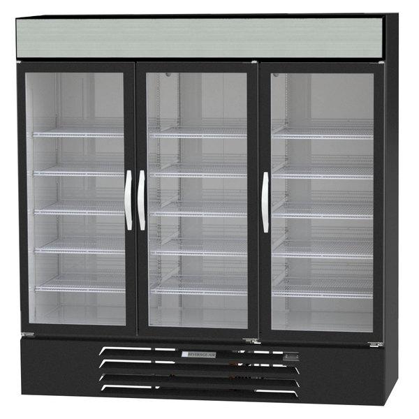 "Beverage-Air MMR72-1-B-EL-LED MarketMax 75"" Black Three Section Glass Door Merchandiser Refrigerator with Electronic Lock - 72 cu. ft."