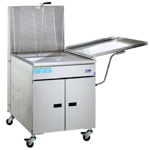 Pitco® 34FF-M Liquid Propane 210-235 lb. High Capacity Food and Fish Floor Fryer with Mechanical Thermostat Controls and Drainboard - 190,000 BTU
