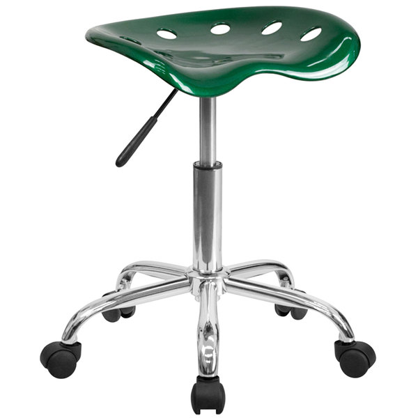 Flash Furniture LF-214A-GREEN-GG Green Office Stool with Tractor Seat and Chrome Frame