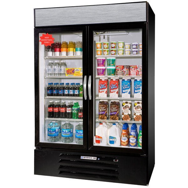 "Beverage-Air MMR49-1-B-EL-LED MarketMax 52"" Black Two Section Glass Door Merchandiser Refrigerator with Electronic Lock - 49 cu. ft."