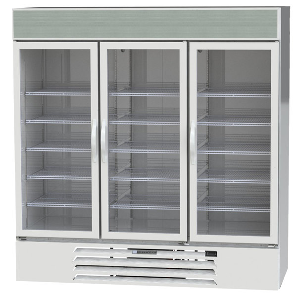 """Beverage-Air MMR72-1-W-EL-LED MarketMax 75"""" White Three Section Glass Door Merchandiser Refrigerator with Electronic Lock - 72 cu. ft. Main Image 1"""