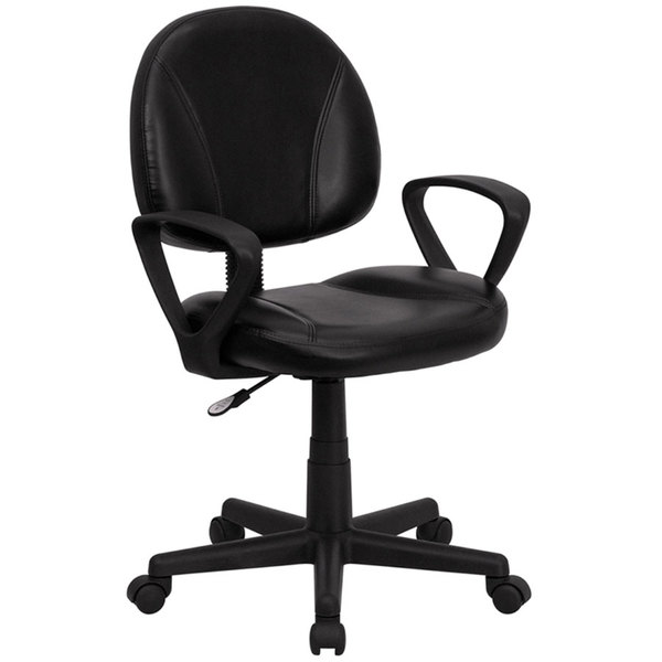 Flash Furniture BT-688-BK-A-GG Mid-Back Black Leather Ergonomic Office Chair / Task Chair with Arms Main Image 1