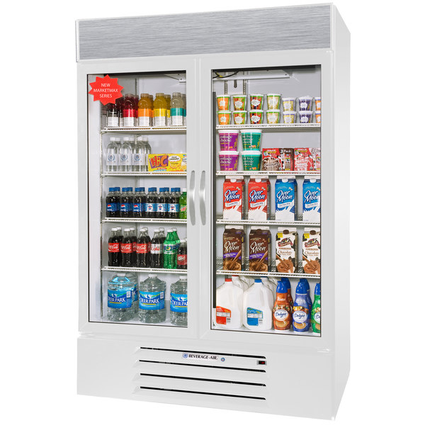 """Beverage-Air MMR49-1-W-EL-LED MarketMax 52"""" White Two Section Glass Door Merchandiser Refrigerator with Electronic Lock - 49 cu. ft."""