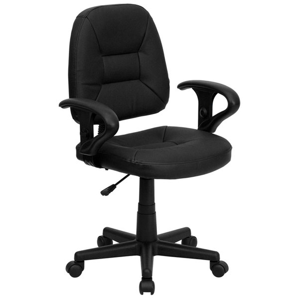 Flash Furniture BT-682-BK-GG Mid-Back Black Leather Ergonomic Office Chair / Task Chair with Adjustable Arms Main Image 1