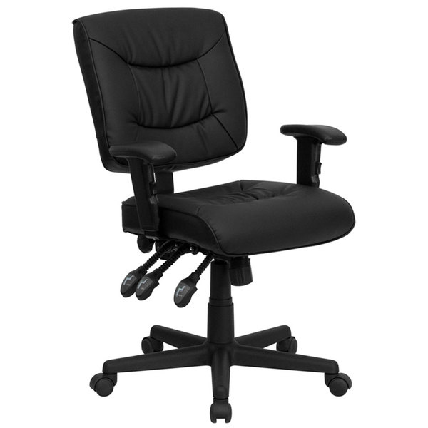 Flash Furniture GO-1574-BK-A-GG Mid-Back Black Leather Multi-Functional Office Chair / Task Chair with Adjustable Arms Main Image 1