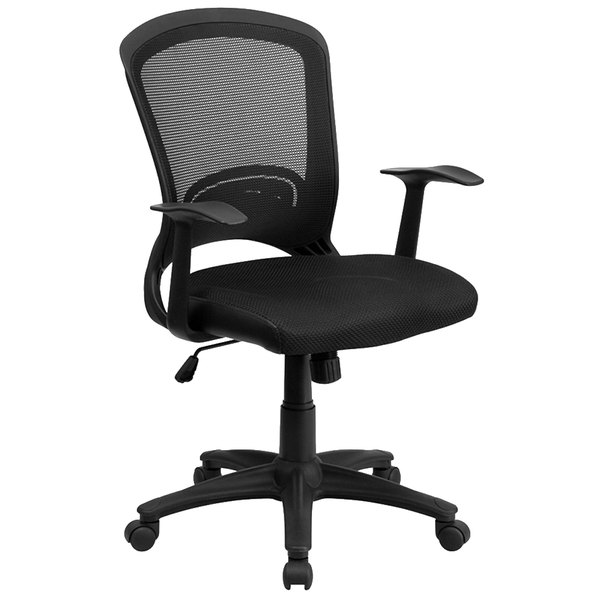 Flash Furniture HL-0007-GG Mid-Back Black Mesh Office Chair with Arms and Padded Mesh Seat Main Image 1