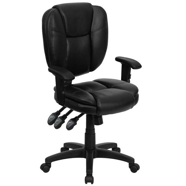 Flash Furniture GO-930F-BK-LEA-ARMS-GG Mid-Back Black Multi-Functional Ergonomic Leather Office Chair / Task Chair with Arms Main Image 1
