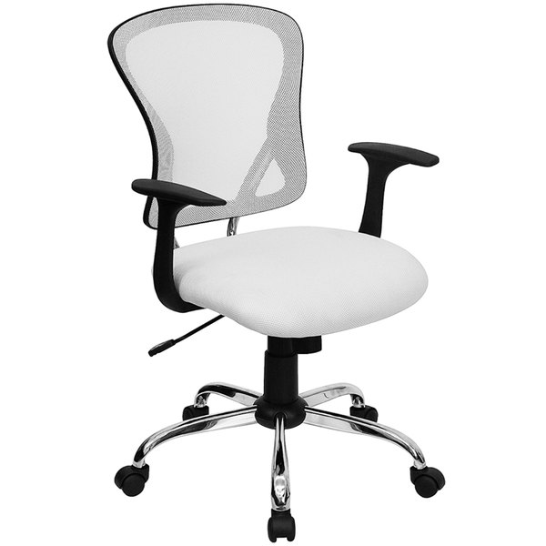 flash furniture h 8369f wht gg mid back white mesh office chair with