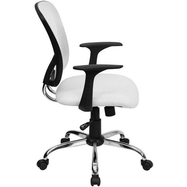 flash furniture h-8369f-wht-gg mid-back white mesh office chair