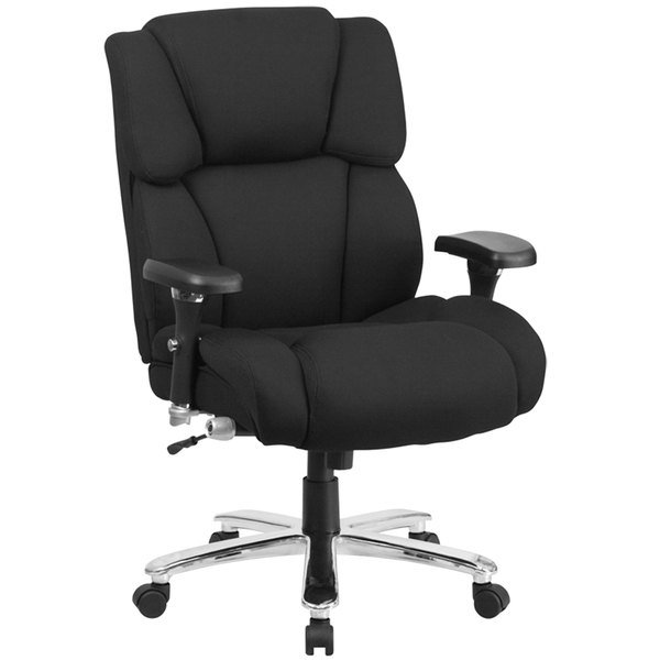 Flash Furniture GO-2149-GG High-Back Black Fabric Intensive-Use Multi-Shift Swivel Office Chair with Lumbar Support Knob, Headrest, and Padded Arms