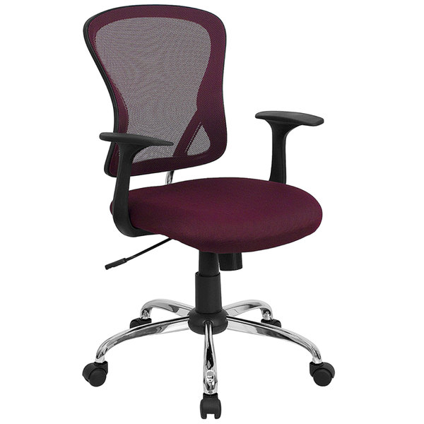 Flash Furniture H-8369F-ALL-BY-GG Mid-Back Burgundy Mesh Office Chair with Arms, Padded Seat, and Chrome Base