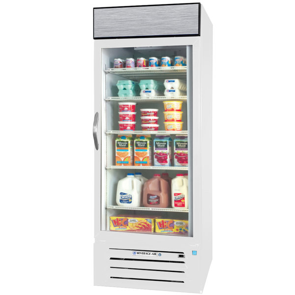 """Beverage-Air MMR27-1-W-EL-LED MarketMax 30"""" White One Section Glass Door Merchandiser Refrigerator with Electronic Lock - 27 cu. ft. Main Image 1"""