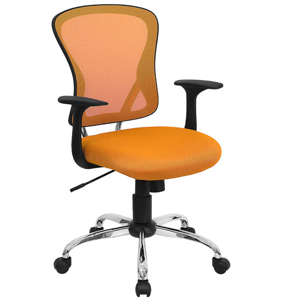 Flash Furniture H-8369F-ORG-GG Mid-Back Orange Mesh Office Chair with Arms, Padded Seat, and Chrome Base Main Image 1