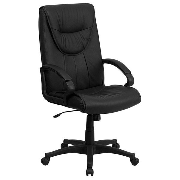 Flash Furniture BT-238-BK-GG High-Back Black Leather Executive Swivel Office Chair with Leather Padded Polyurethane Arms