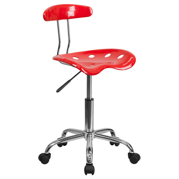 Flash Furniture LF-214-RED-GG Red Office / Task Chair with Tractor Seat and Chrome Frame