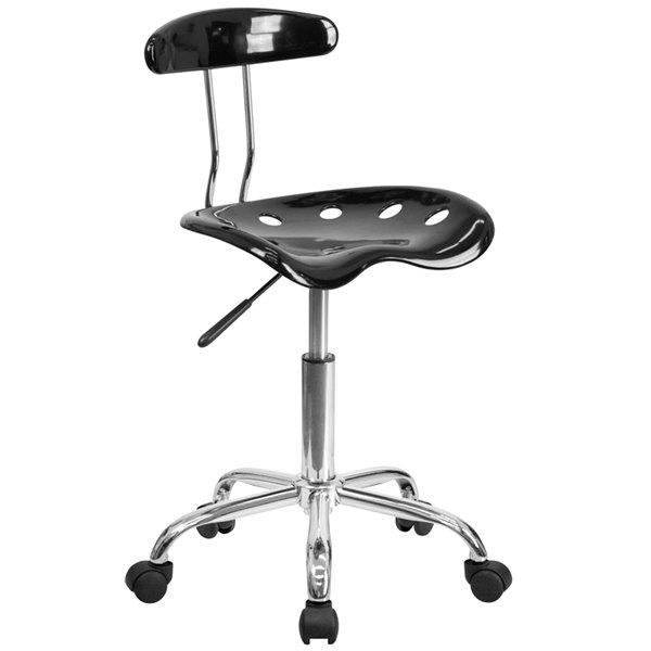 Flash Furniture LF-214-BLK-GG Black Office / Task Chair with Tractor Seat and Chrome Frame