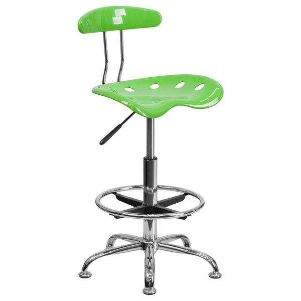 Flash Furniture LF-215-APPLEGREEN-GG Apple Green Drafting Stool with Tractor Seat and Chrome Frame Main Image 1