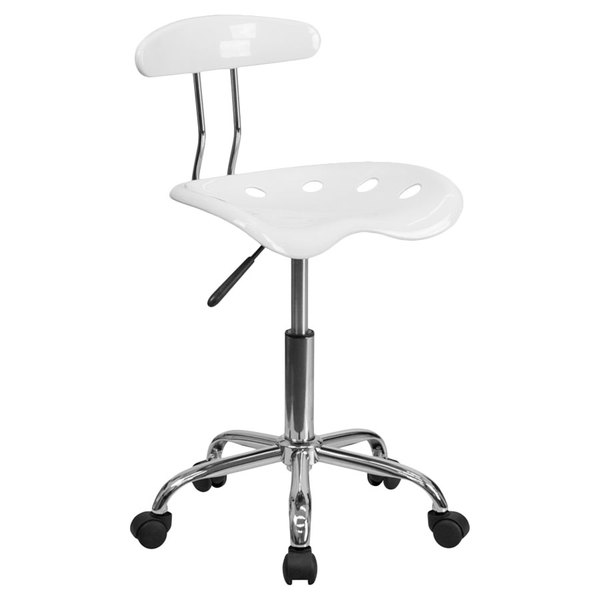 Flash Furniture LF-214-WHITE-GG White Office / Task Chair with Tractor Seat and Chrome Frame Main Image 1