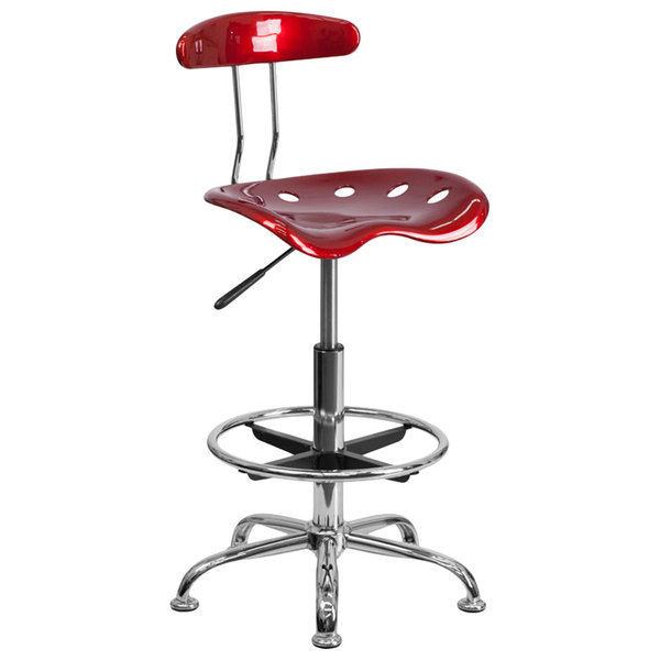 Flash Furniture LF-215-WINERED-GG Wine Red Drafting Stool with Tractor Seat and Chrome Frame Main Image 1