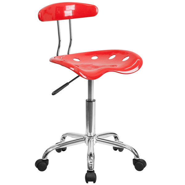 Flash Furniture LF-214-CHERRYTOMATO-GG Cherry Tomato Office / Task Chair with Tractor Seat and Chrome Frame Main Image 1