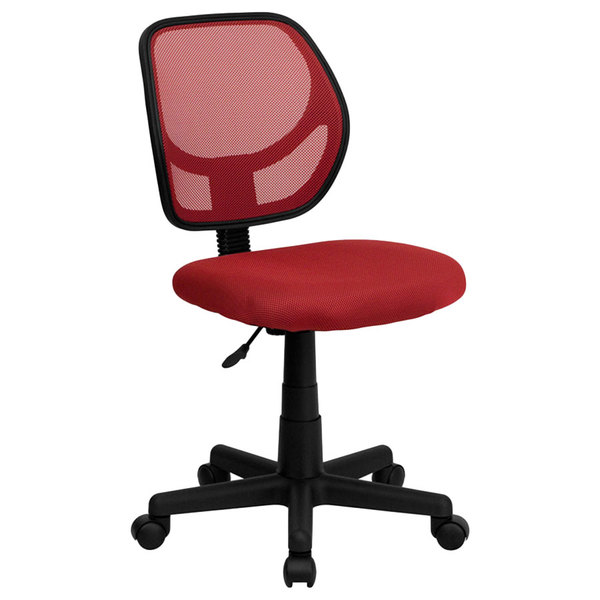 Flash Furniture WA-3074-RD-GG Mid-Back Red Mesh Office / Task Chair with Nylon Frame and Swivel Base Main Image 1