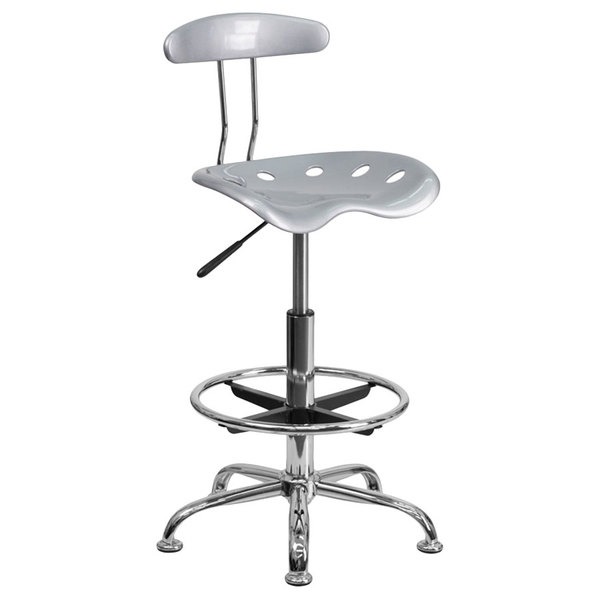 Flash Furniture LF-215-SILVER-GG Silver Drafting Stool with Tractor Seat and Chrome Frame