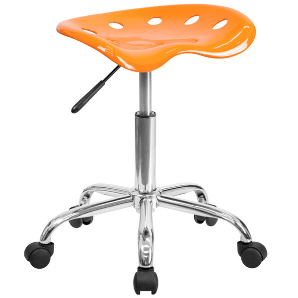Flash Furniture LF-214A-ORANGEYELLOW-GG Orange Office Stool with Tractor Seat and Chrome Frame Main Image 1