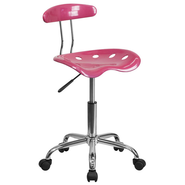 Flash Furniture LF-214-PINK-GG Pink Office / Task Chair with Tractor Seat and Chrome Frame