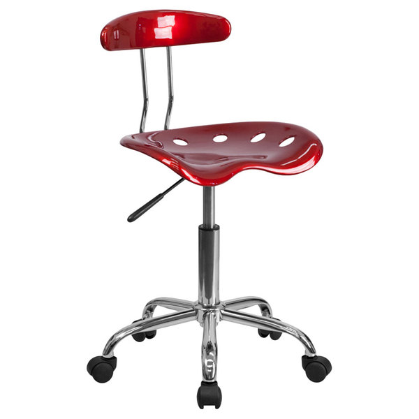Flash Furniture LF-214-WINERED-GG Wine Red Office / Task Chair with Tractor Seat and Chrome Frame Main Image 1
