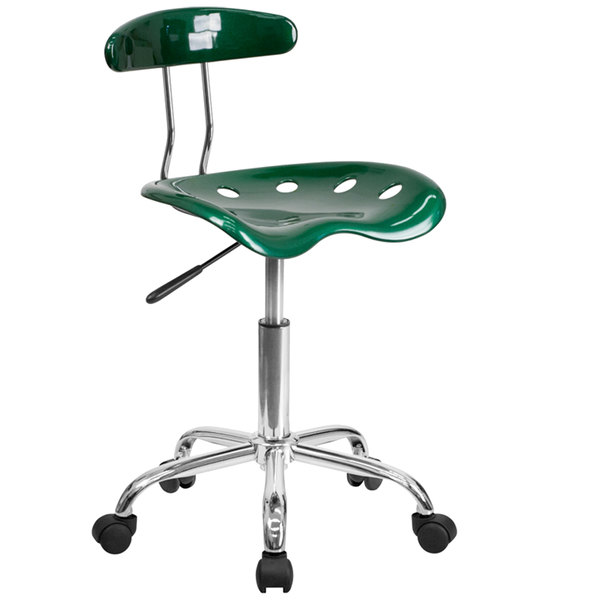 Flash Furniture LF-214-GREEN-GG Green Office / Task Chair with Tractor Seat and Chrome Frame Main Image 1