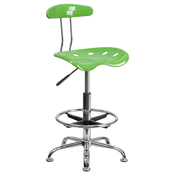 Flash Furniture LF-215-SPICYLIME-GG Spicy Lime Drafting Stool with Tractor Seat and Chrome Frame Main Image 1