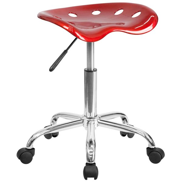 Flash Furniture LF-214A-WINERED-GG Wine Red Office Stool with Tractor Seat and Chrome Frame