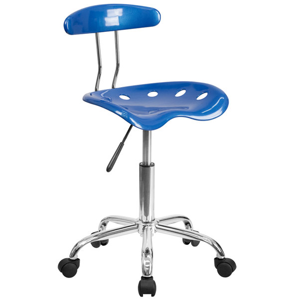 Flash Furniture LF-214-BRIGHTBLUE-GG Bright Blue Office / Task Chair with Tractor Seat and Chrome Frame Main Image 1