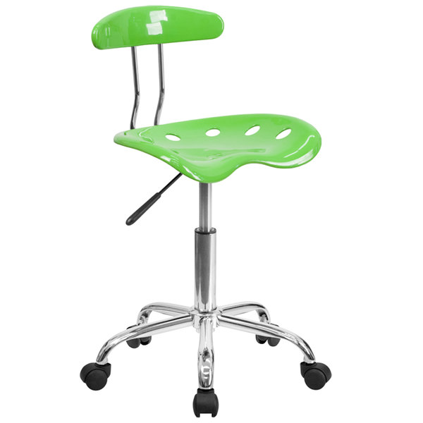 Flash Furniture LF-214-APPLEGREEN-GG Apple Green Office / Task Chair with Tractor Seat and Chrome Frame Main Image 1