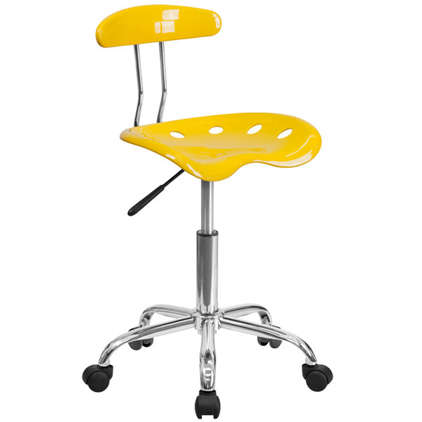 Flash Furniture LF-214-YELLOW-GG Yellow Office / Task Chair with Tractor Seat and Chrome Frame Main Image 1