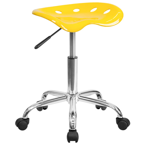 Flash Furniture LF-214A-YELLOW-GG Yellow Office Stool with Tractor Seat and Chrome Frame Main Image 1
