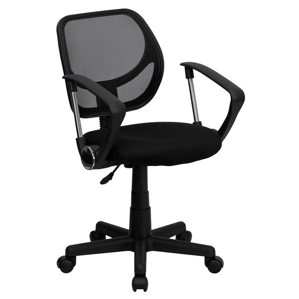 Flash Furniture WA-3074-BK-A-GG Mid-Back Black Mesh Office / Task Chair with Nylon Frame, Swivel Base, and Polyurethane Arms Main Image 1