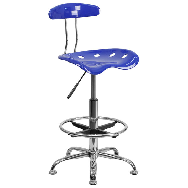 Flash Furniture LF-215-NAUTICALBLUE-GG Nautical Blue Drafting Stool with Tractor Seat and Chrome Frame Main Image 1
