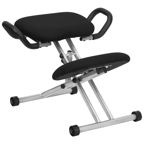 Flash Furniture WL-1429-GG Black Ergonomic Kneeling Office Chair with Silver Steel Frame and Handles Main Image 1