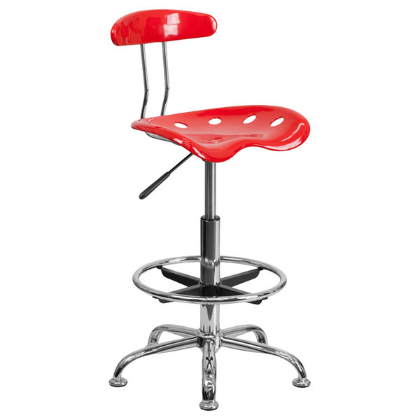 Flash Furniture LF-215-RED-GG Red Drafting Stool with Tractor Seat and Chrome Frame Main Image 1