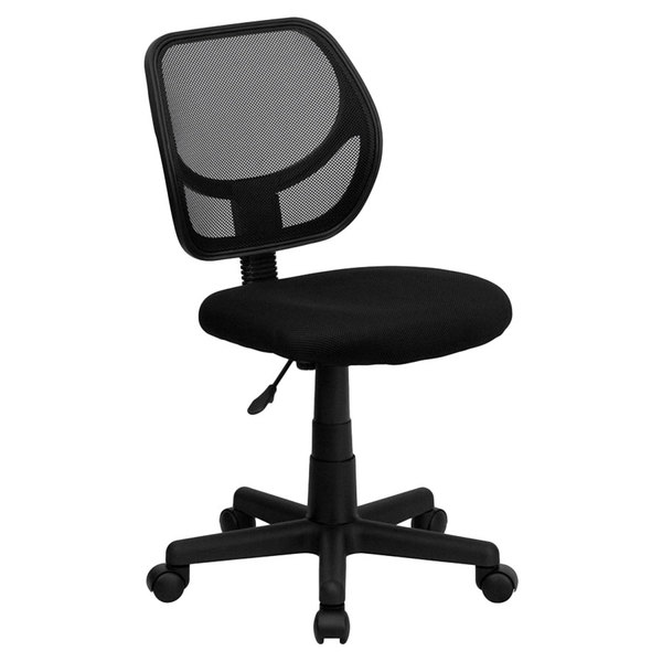 Flash Furniture WA-3074-BK-GG Mid-Back Black Mesh Office / Task Chair with Nylon Frame and Swivel Base Main Image 1