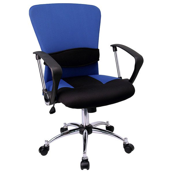 Flash Furniture LF-W23-BLUE-GG Mid-Back Blue Mesh Office Chair with Padded Seat, Chrome Swivel Base, and Polyurethane Arms
